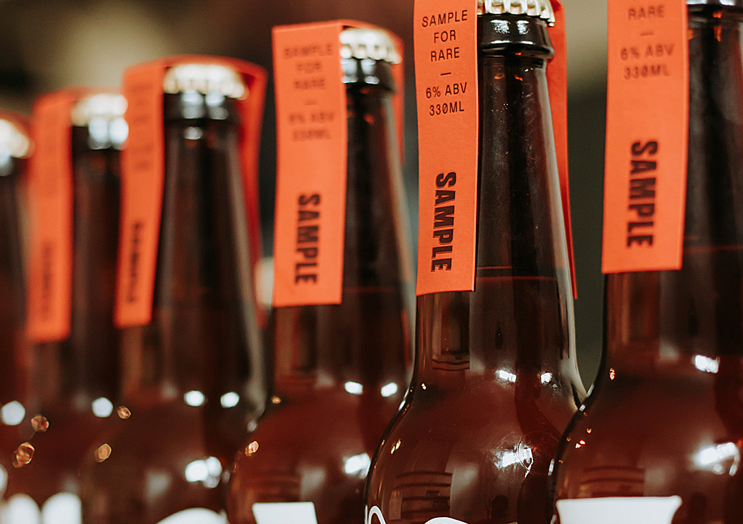 Specialty letterpress beer neck labels for Sample Brew on Colorplan 4