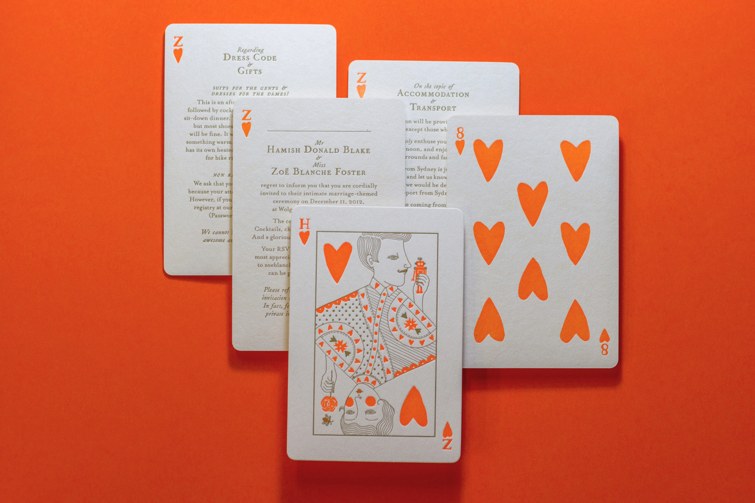 Cheeky letterpress wedding invitations for Hamish Blake and Zoe Foster-Blake illustrated by Allison Colpoys