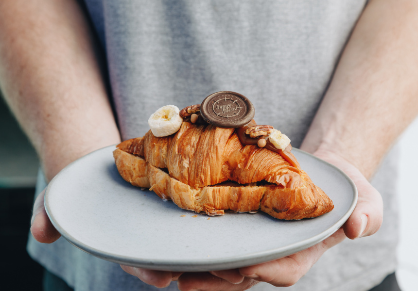 Chocolate mould on croissant designed for Penny for Pound