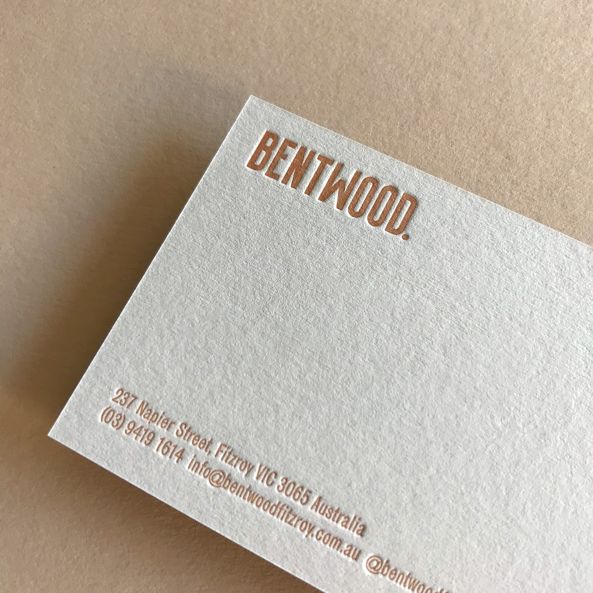 Custom letterpress business cards for Bentwood on Colorplan Mist 1