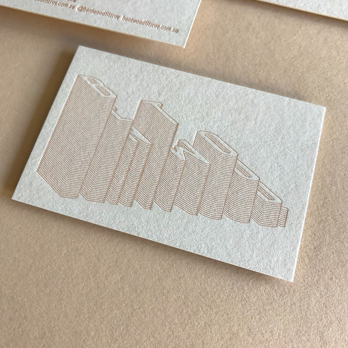 Custom letterpress business cards for Bentwood on Colorplan Mist 3