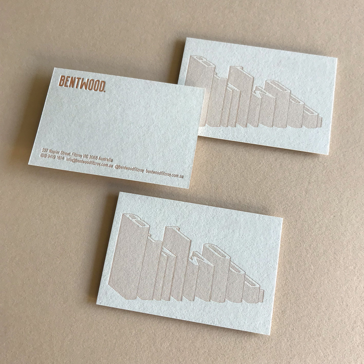 Custom letterpress business cards for Bentwood on Colorplan Mist 4