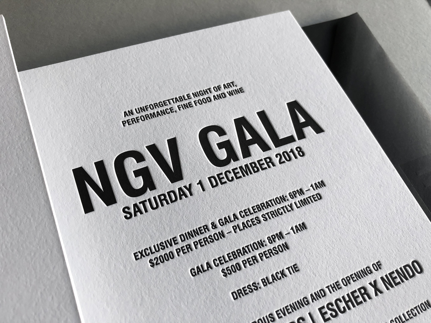 Letterpress printed invitations for NGV Gala on Savoy