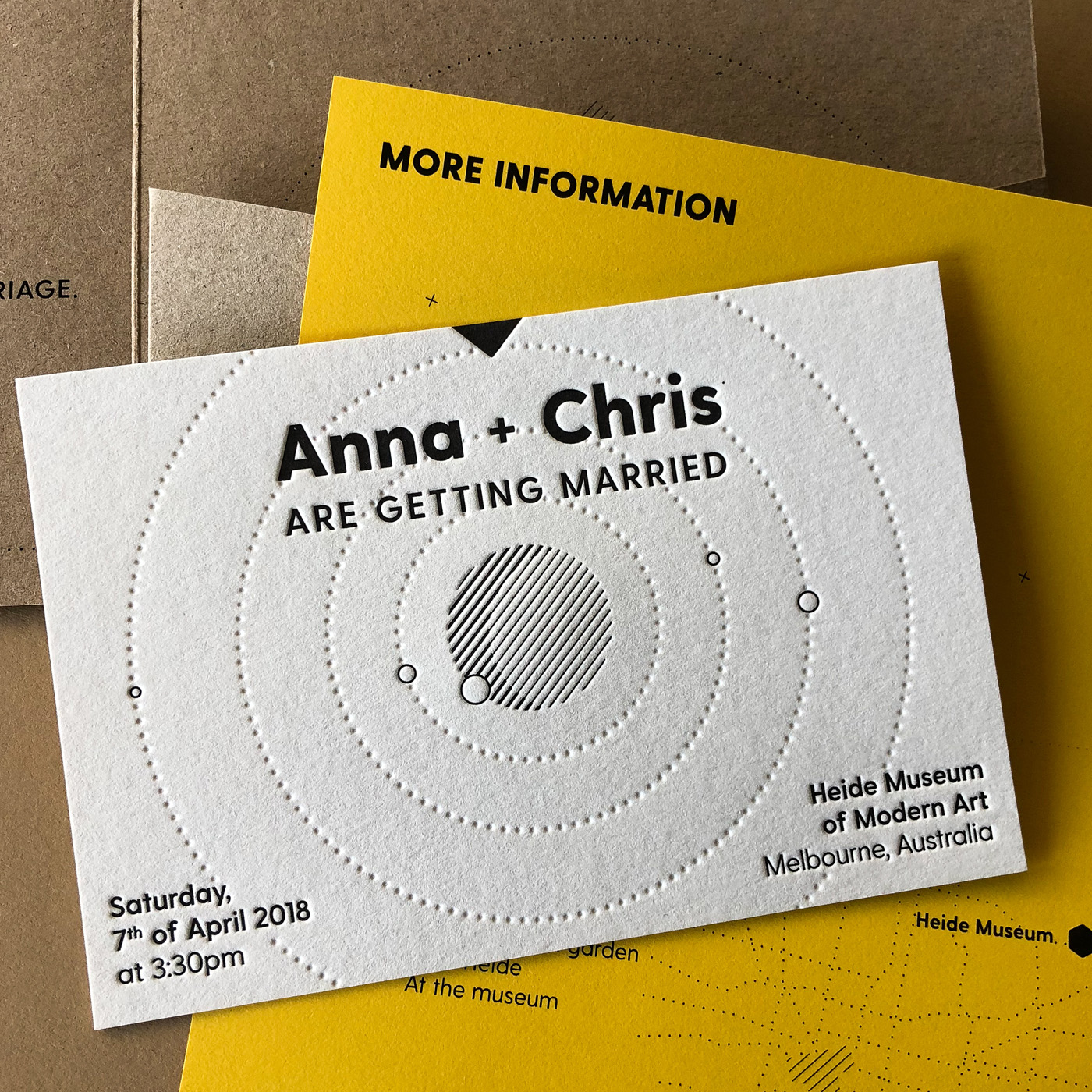 Letterpress wedding invitation for Anna and Chris on Wild and Bloom Banana