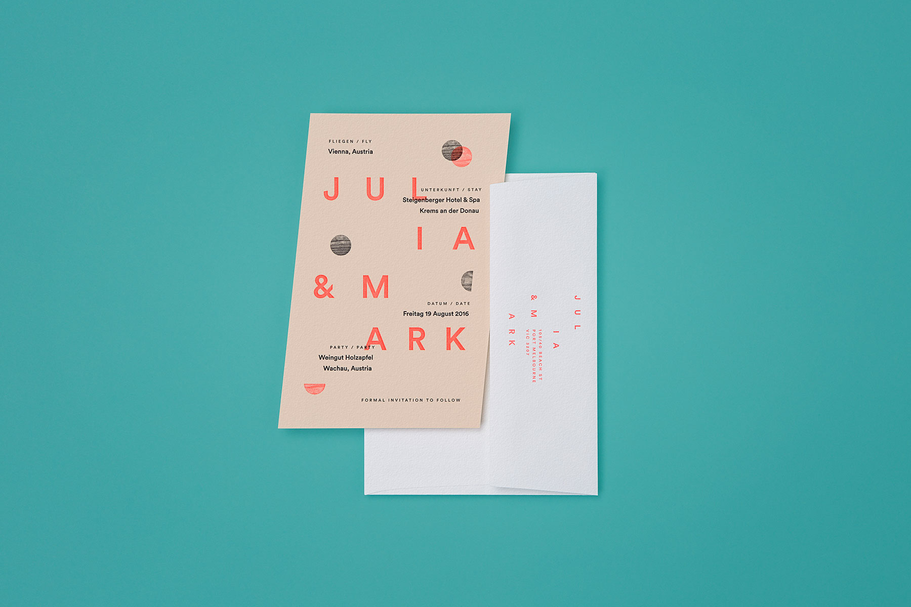 Modern minimalist letterpress save the dates for Julia and Mark on Colorplan