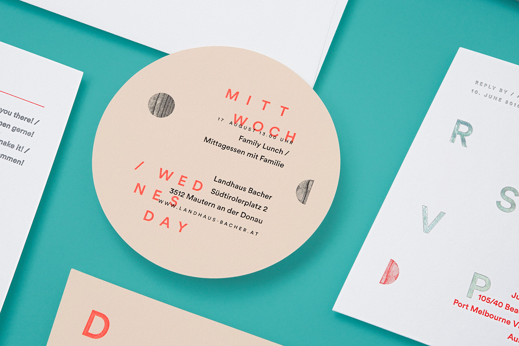 Modern minimalist letterpress wedding invitations for Julia and Mark on Colorplan 2