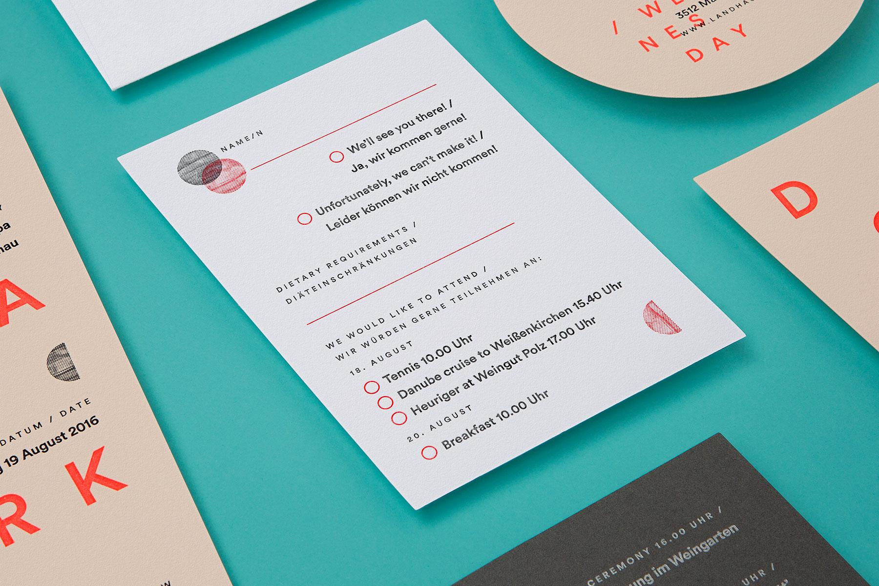 Modern minimalist letterpress wedding invitations for Julia and Mark on Colorplan 3
