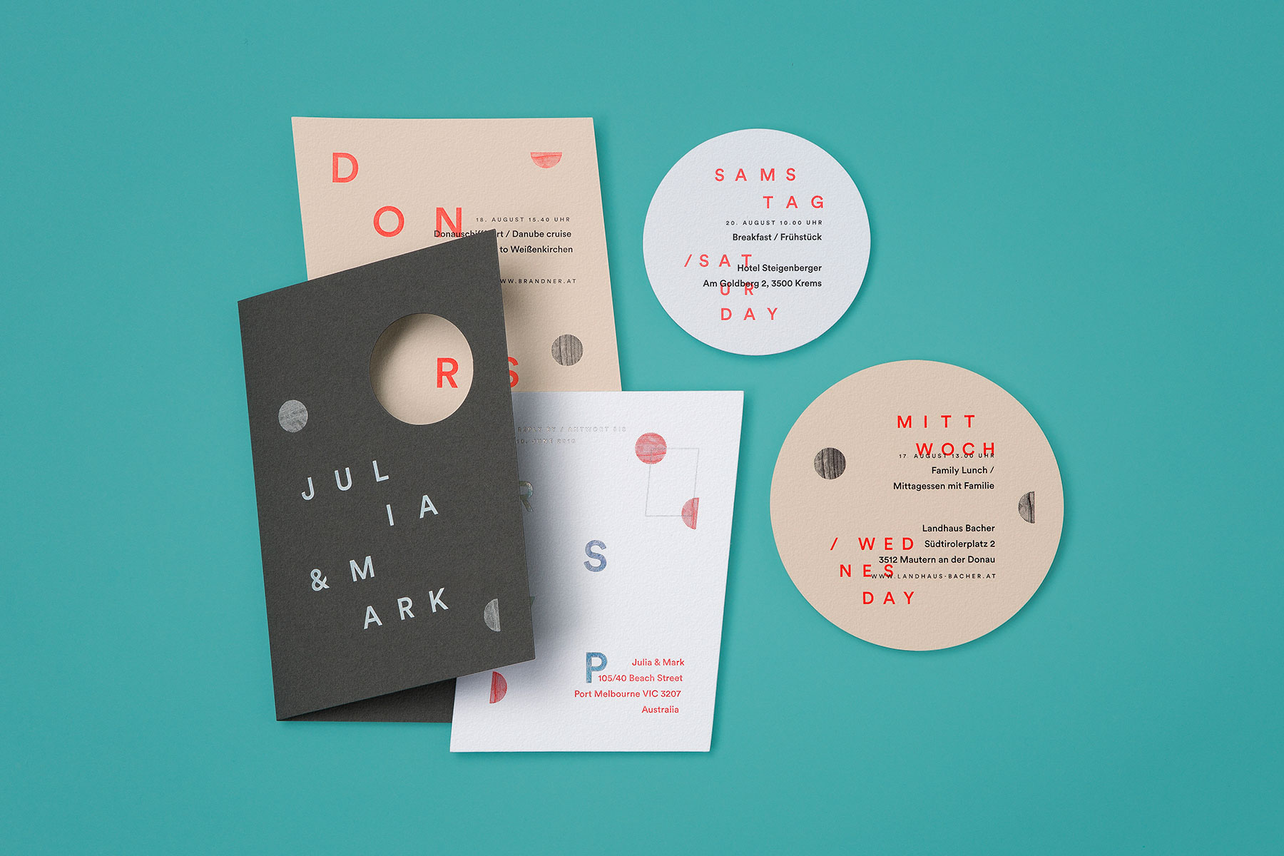 Modern minimalist letterpress wedding invitations for Julia and Mark on Colorplan 4