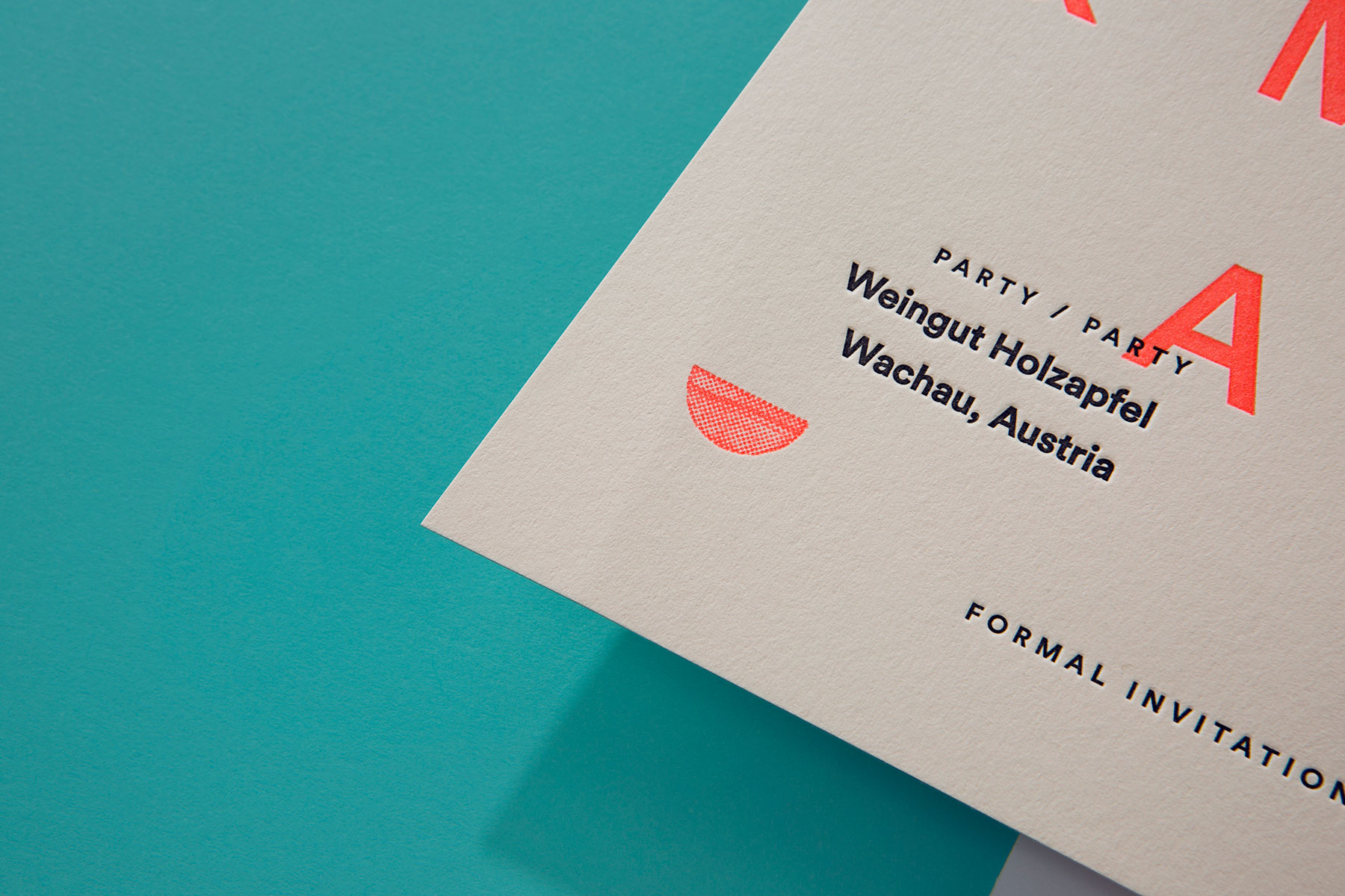 Modern minimalist letterpress wedding invitations for Julia and Mark on Colorplan