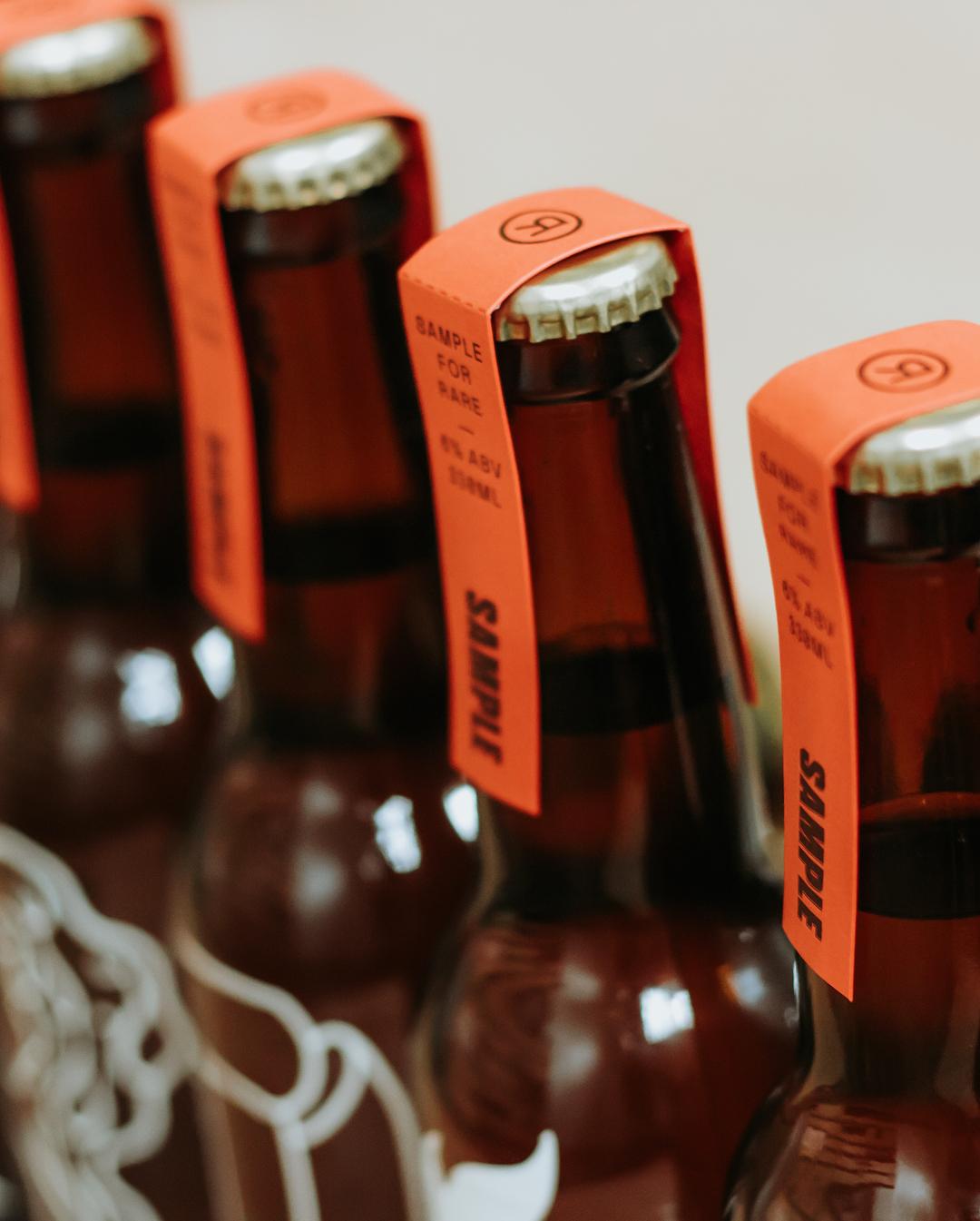 Specialty letterpress beer neck labels for Sample Brew on Colorplan 3