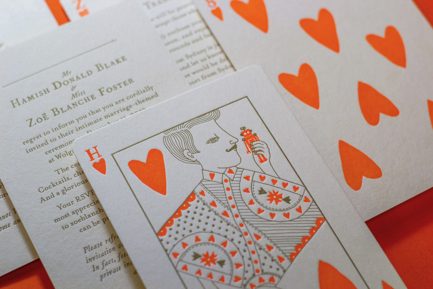 Unique letterpress wedding invitations for Hamish Blake and Zoe Foster-Blake illustrated by Allison Colpoys 1