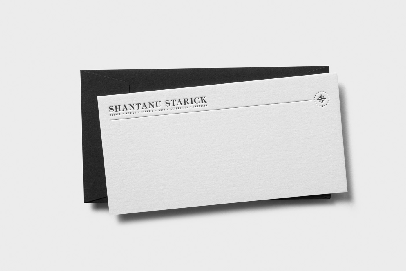 With compliments cards letterpress printed for Shantanu Starick on Wild 2
