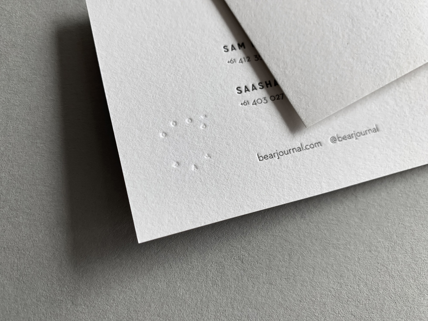 Blind Letterpress Business Cards for Bear on Stephen