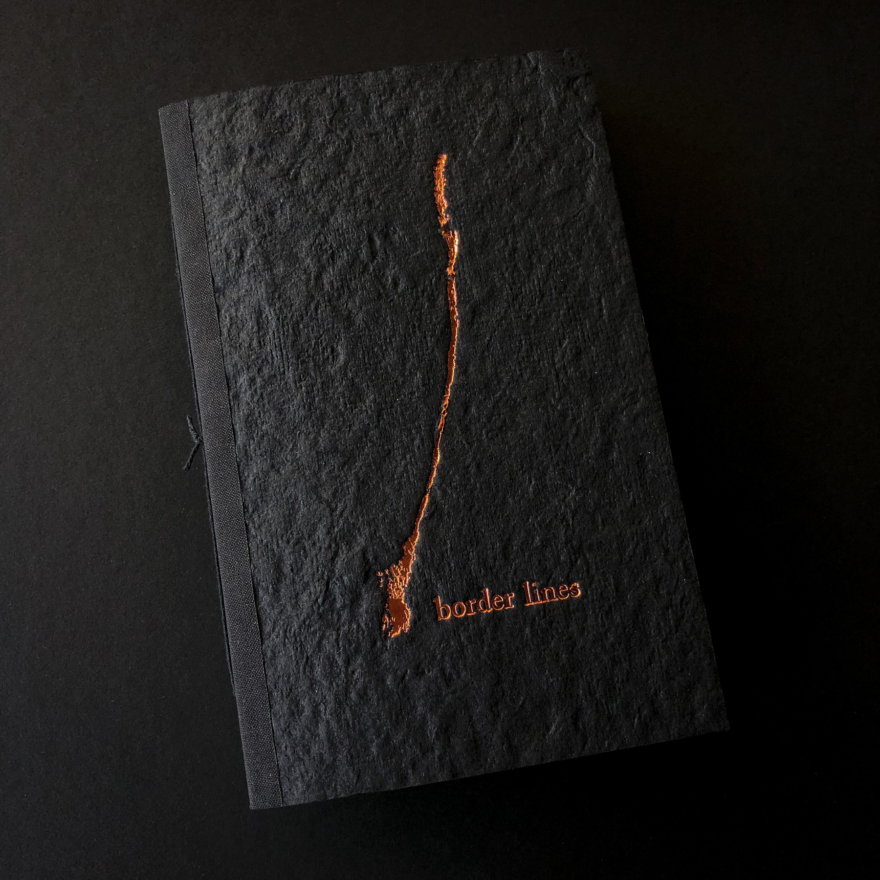 Copper foil stamped book by Lloyd Jones on handmade paper cover 2