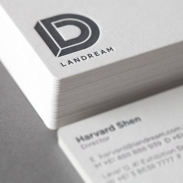 Cotton Business Cards for Landream on Gmund New Grey