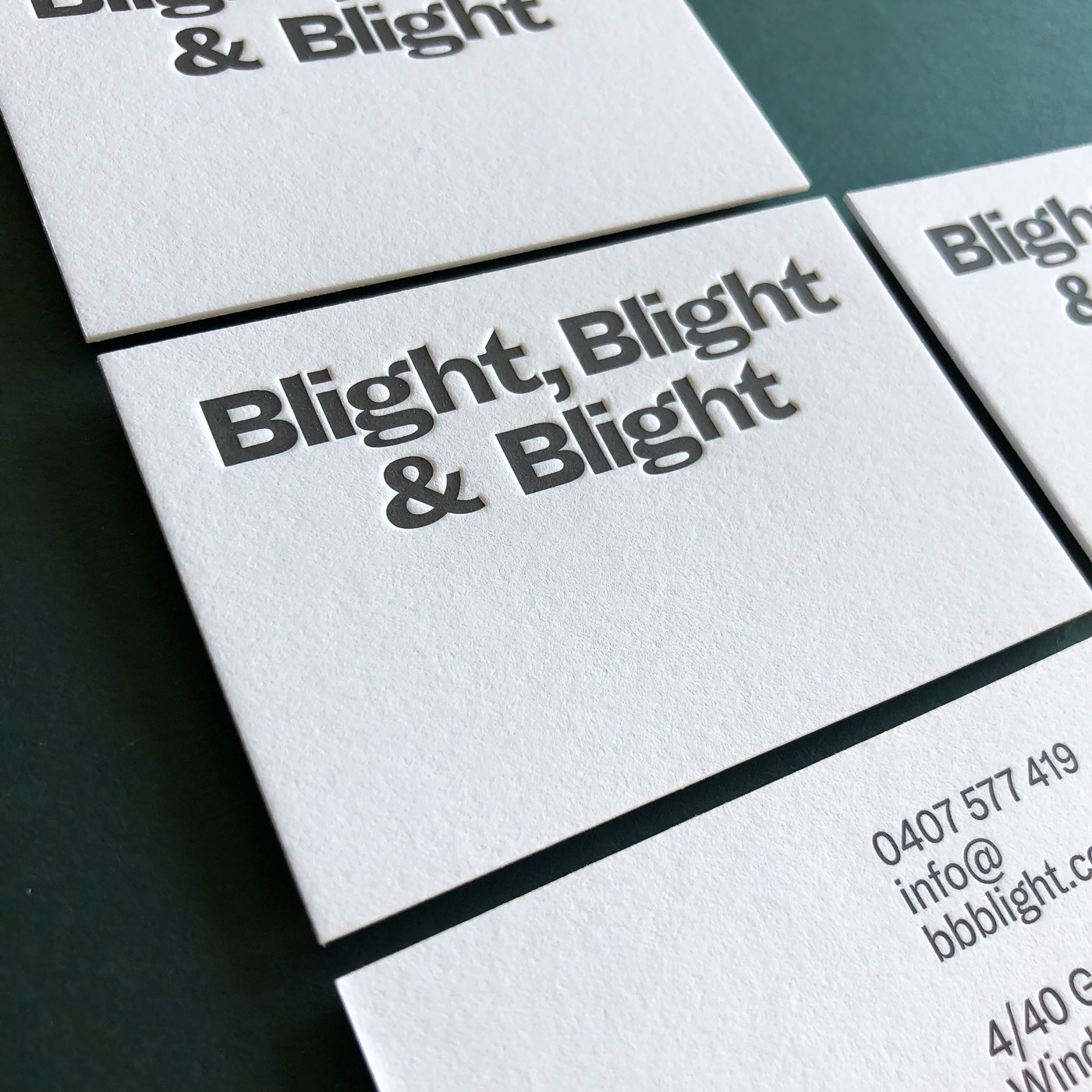 Cotton letterpress business cards for Blight, Blight & Blight on Crane Lettra 1