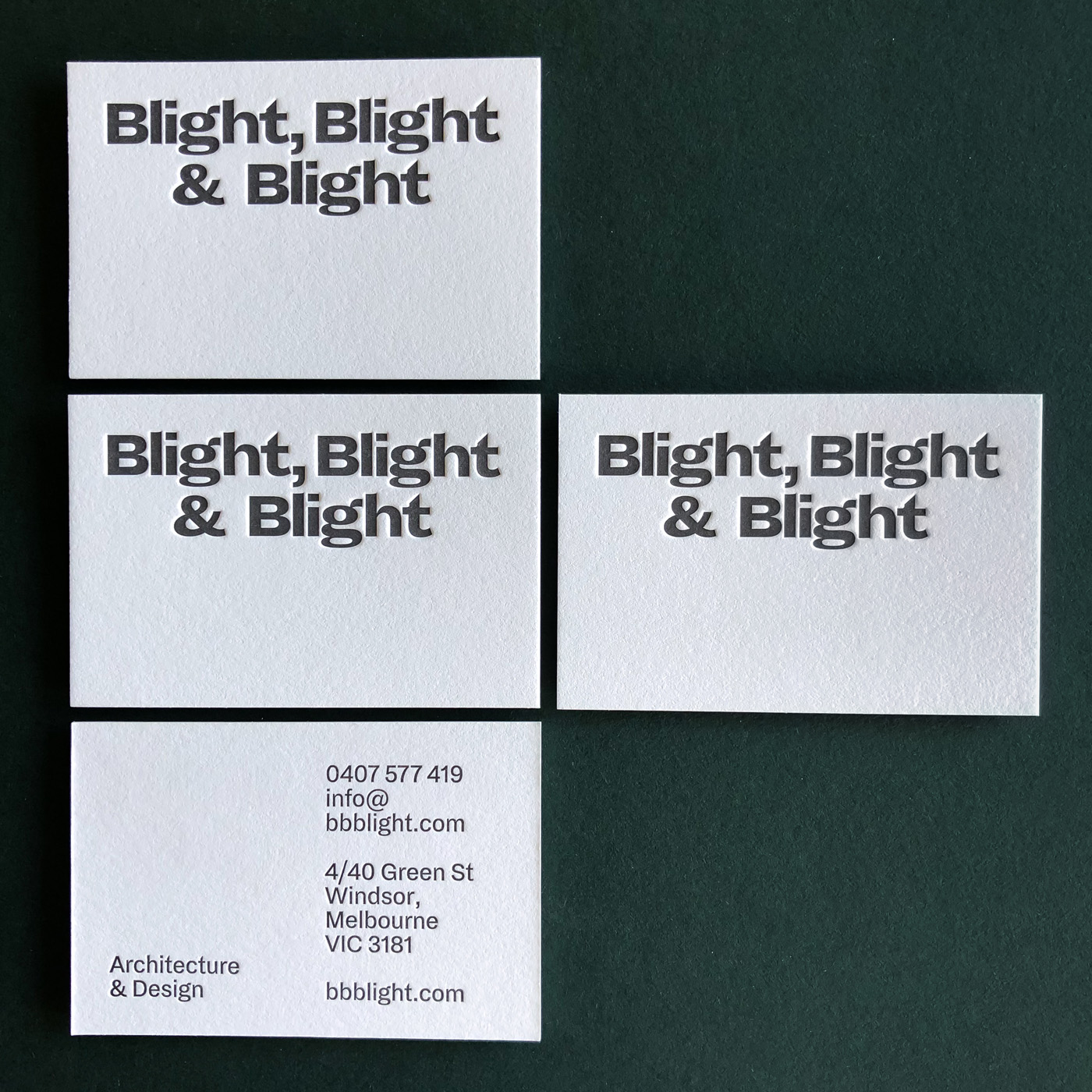 Cotton letterpress business cards for Blight, Blight & Blight on Crane Lettra 2