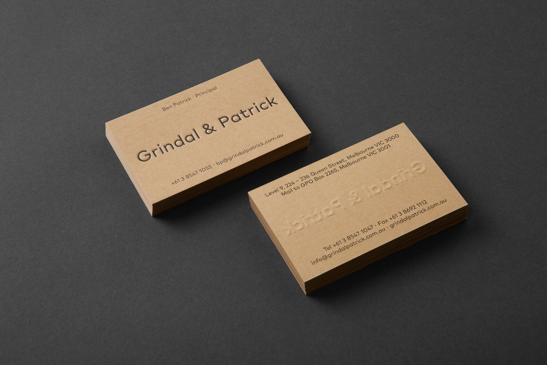 Custom Letterpress Business Cards for Grindal & Patrick on Colorplan 1