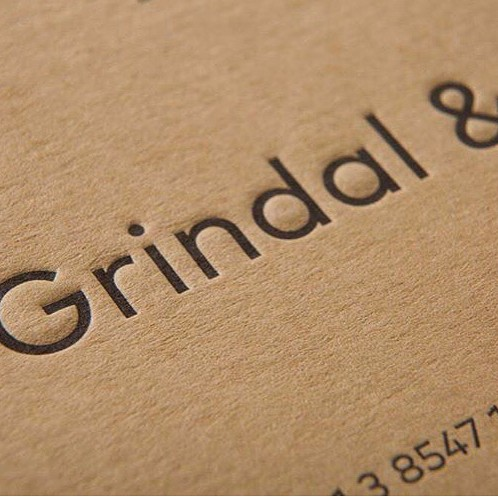 Custom Letterpress Business Cards for Grindal & Patrick on Colorplan 2