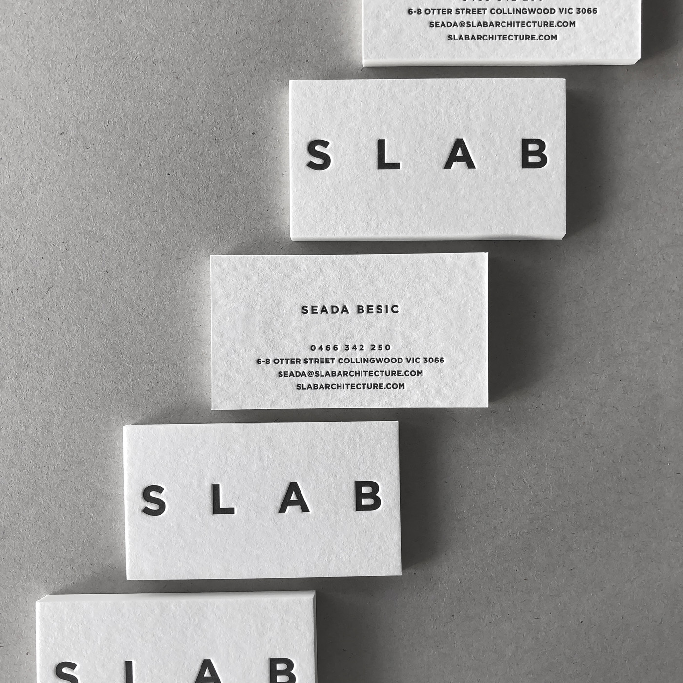 Custom letterpress business cards for Slab on Wild 2