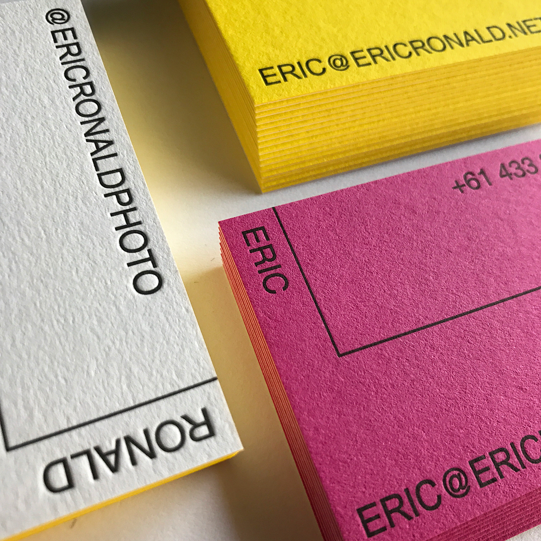 Duplex Letterpress Business Cards on Eric Ronald on Colorplan 2