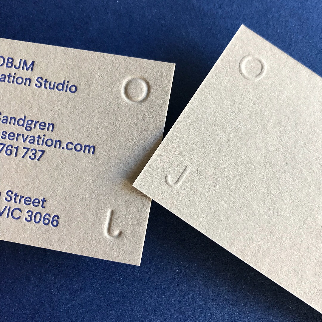 Embossed Business Cards for OBJM Letterpressed on Colorplan 1