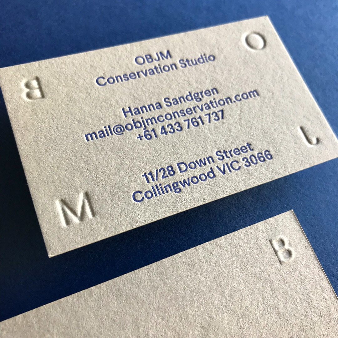 Embossed Business Cards for OBJM Letterpressed on Colorplan 2