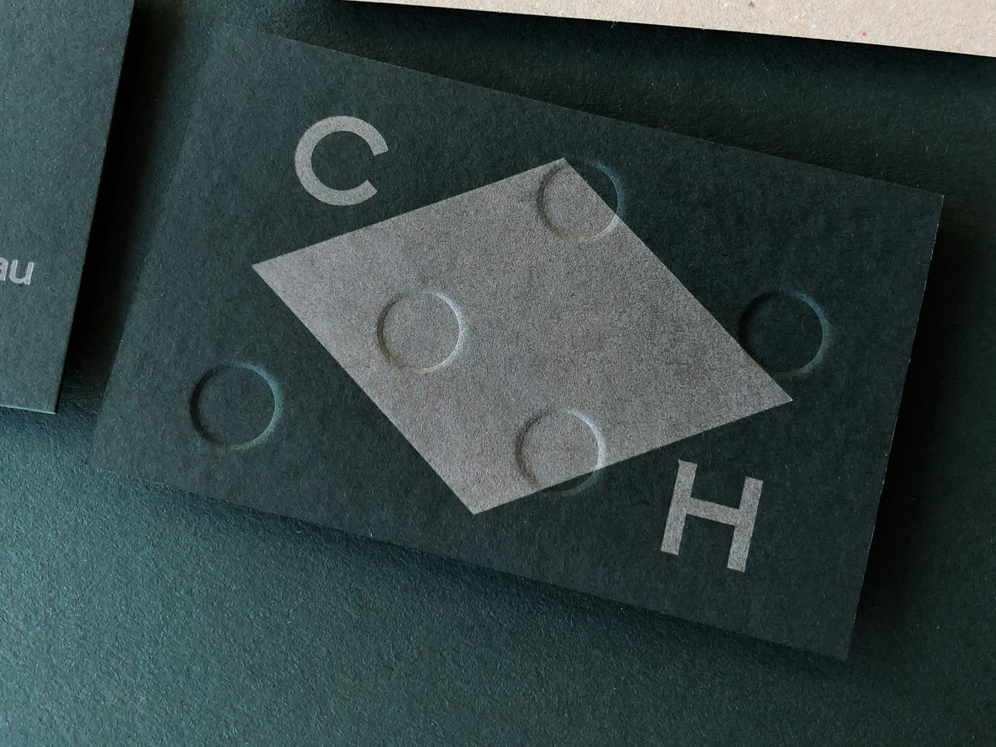 Embossed debossed letterpress business cards for Clubhouse on Colorplan Racing Green
