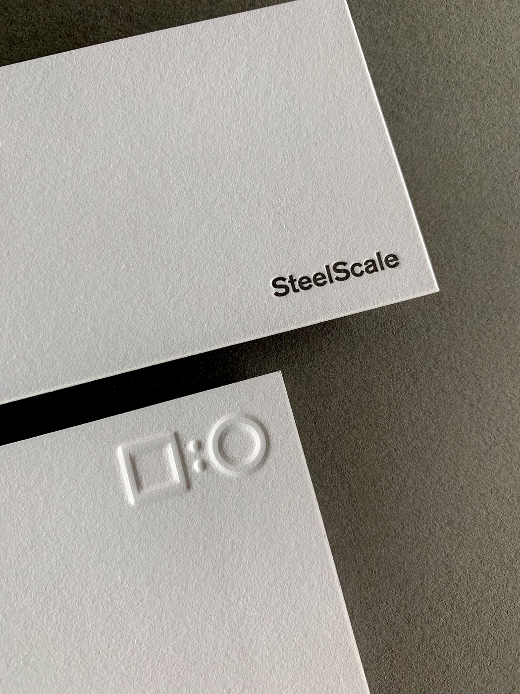 Embossed debossed letterpress business cards for SteelScale on Savoy 2