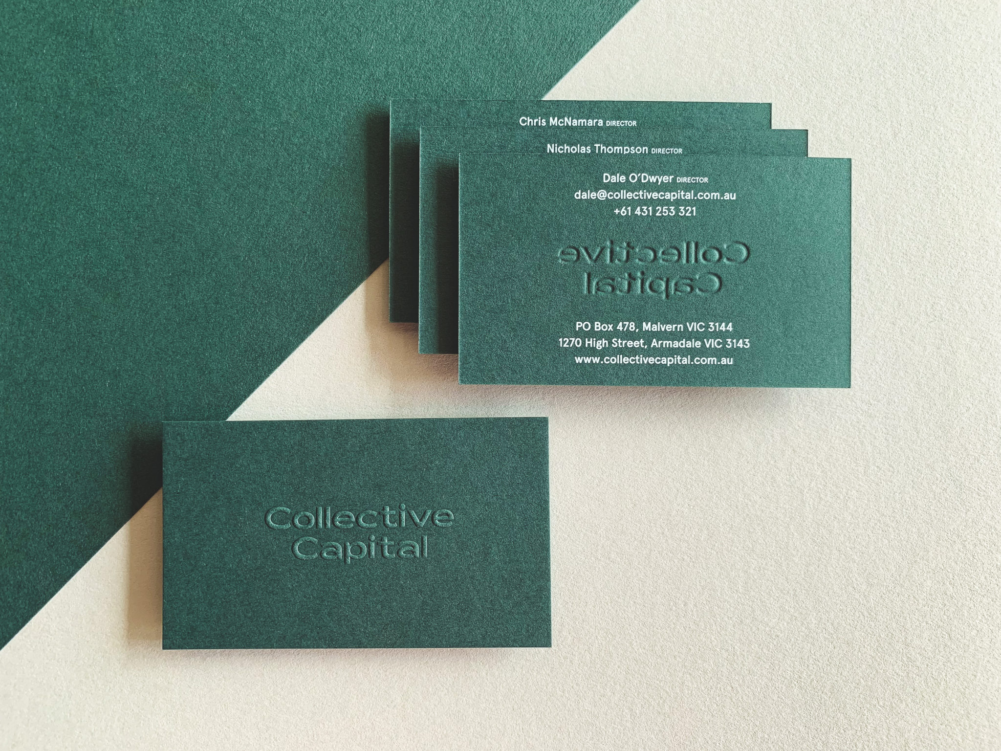 Embossed Opaque White Digital Business Cards for Collective Capital on Colorplan