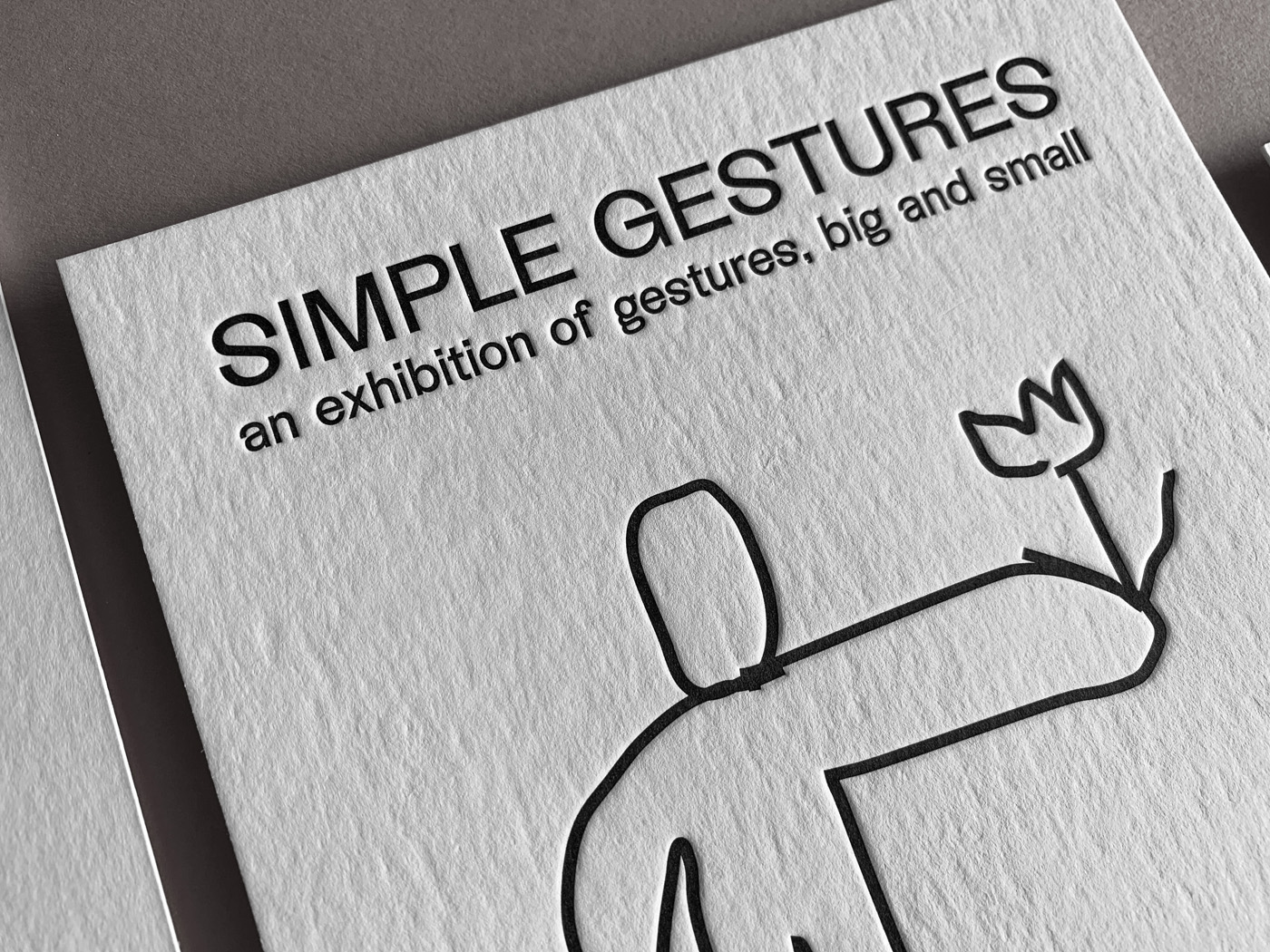 Exhibition promotional postcards letterpress printed for Simple Gestures on Wild 3