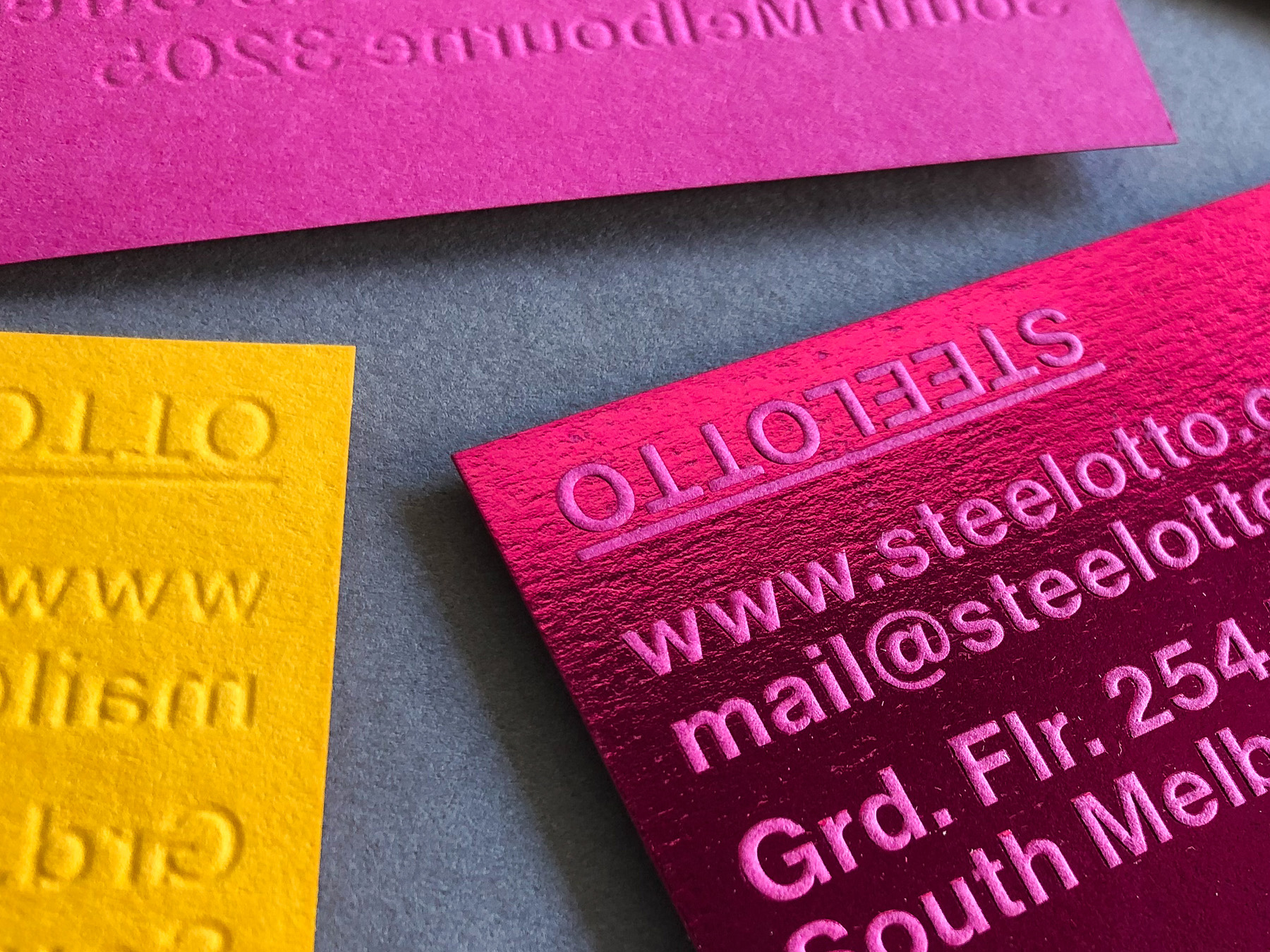 Foil business cards embossed for Steeletto Business Cards on Colorplan 1