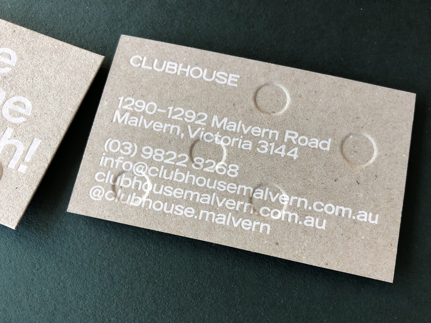 Foil embossed debossed letterpress business cards for Clubhouse on Boxboard 2