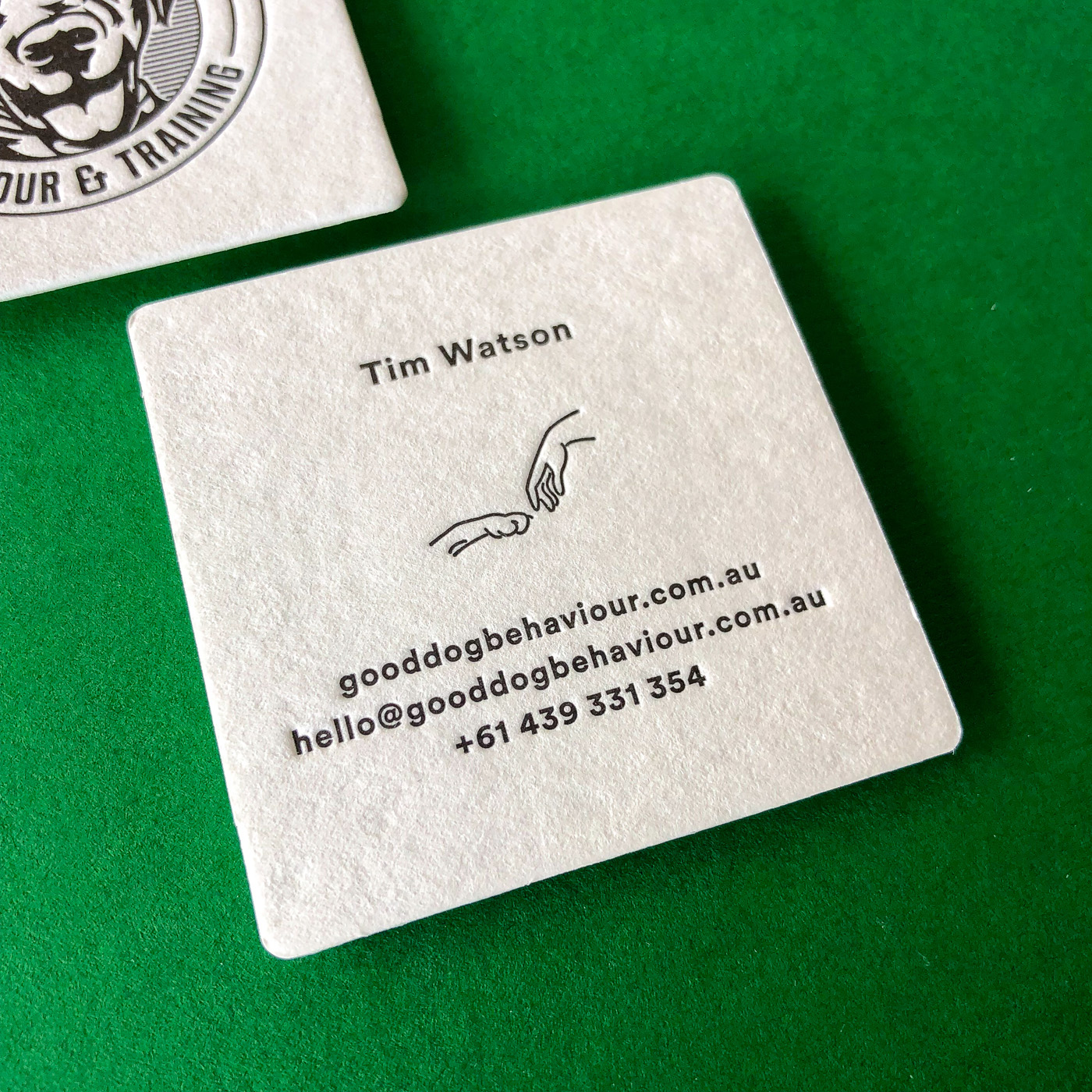 Letter pressed business cards for Good Dog Behavior on Wild 1
