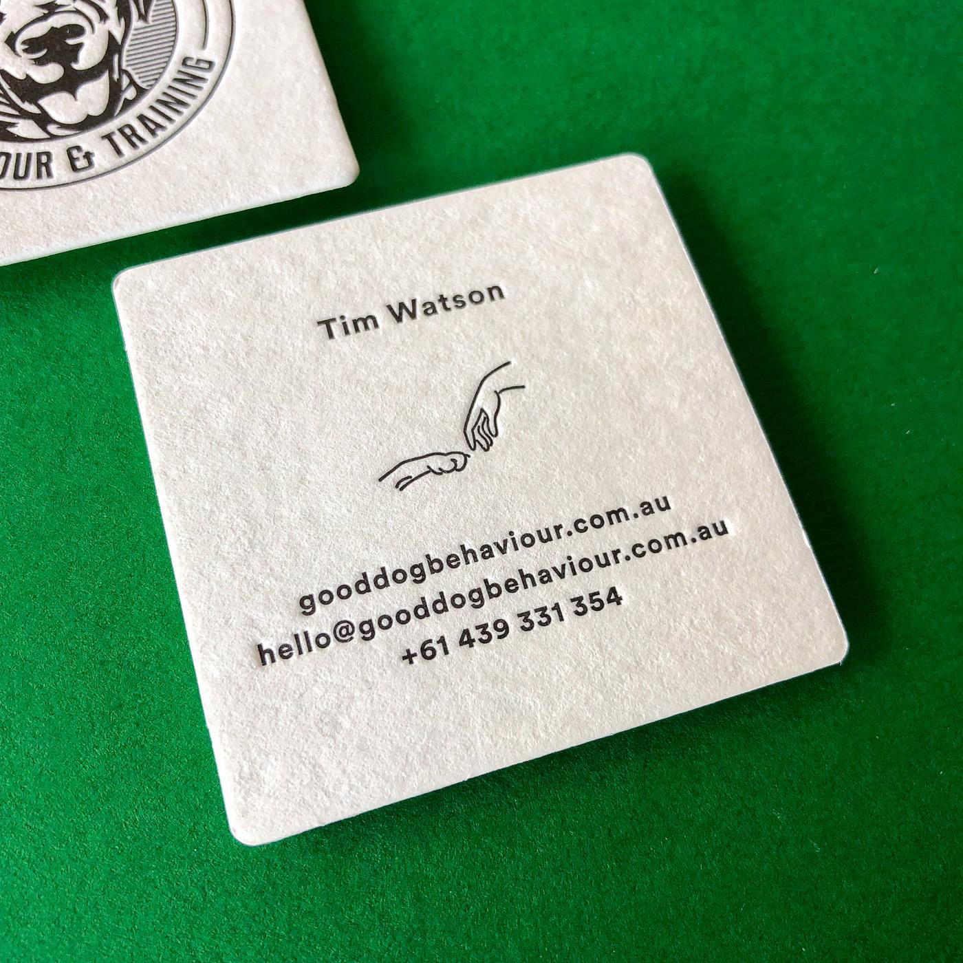 Letter pressed business cards for Good Dog Behavior on Wild 1