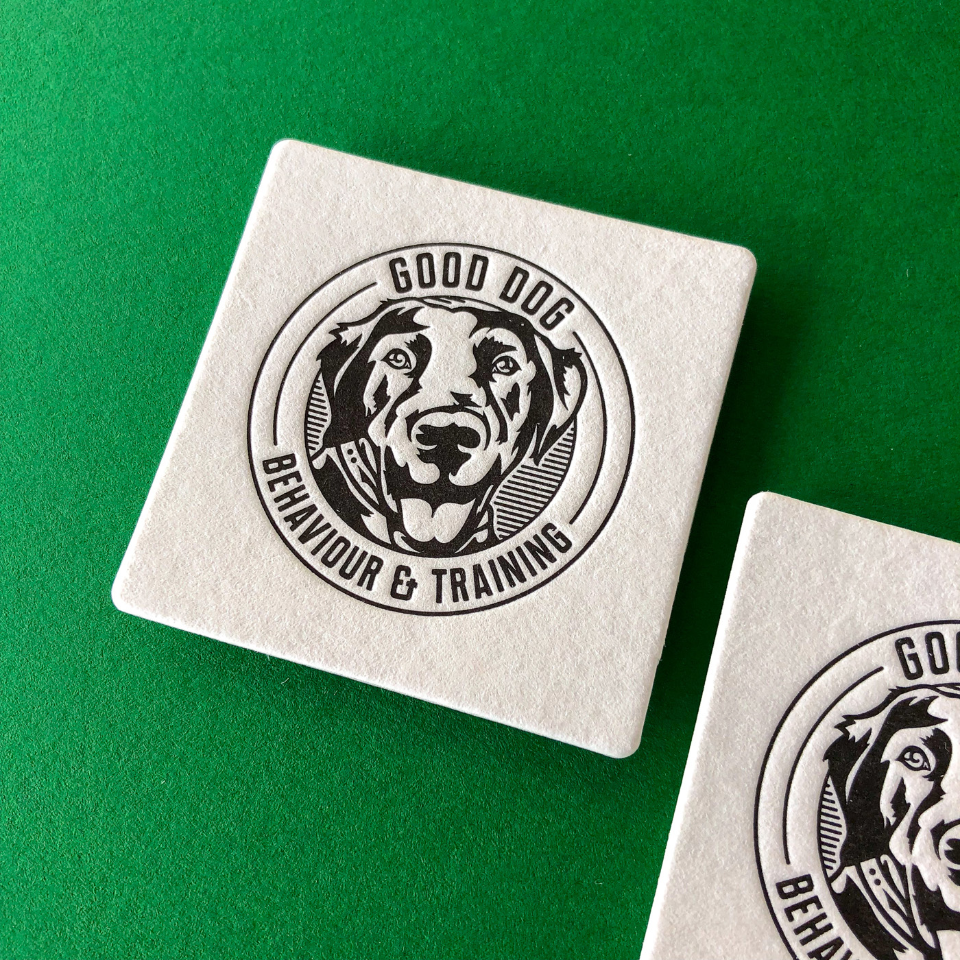 Letter pressed business cards for Good Dog Behavior on Wild 2