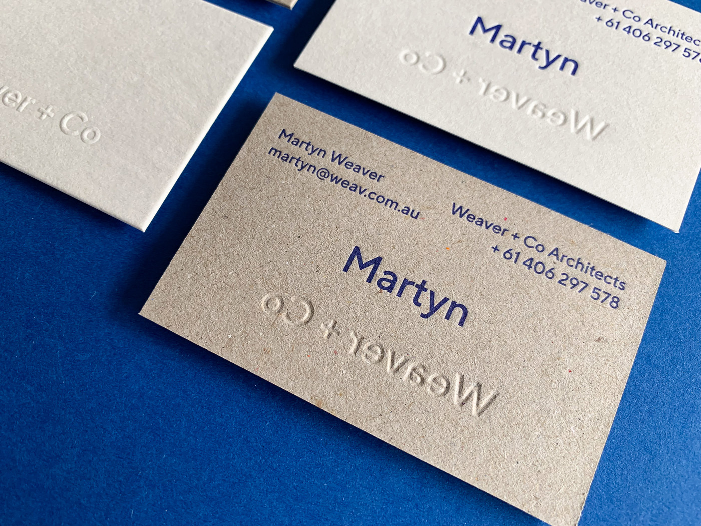 Letter pressed business cards for Martyn Weaver Co on Boxboard and Wild 1