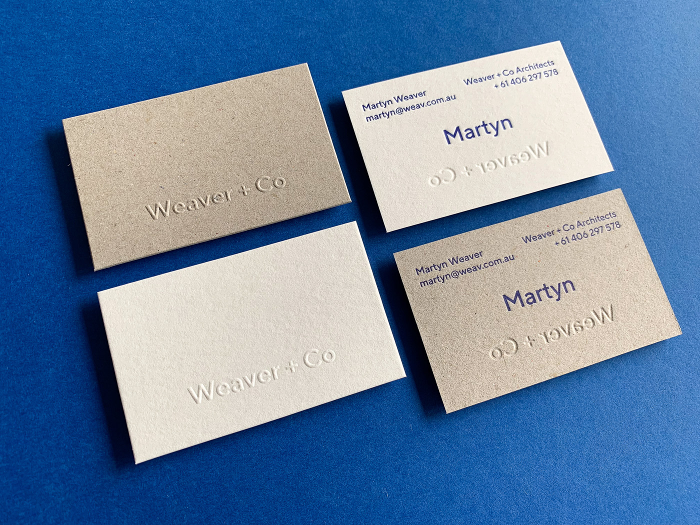 Letter pressed business cards for Martyn Weaver Co on Boxboard and Wild 2