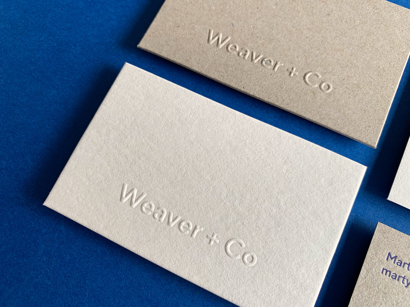 Letter pressed business cards for Martyn Weaver Co on Boxboard and Wild 3