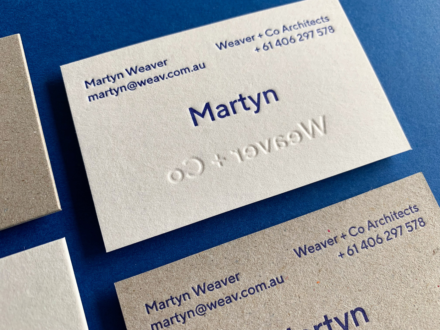 Letter pressed business cards for Martyn Weaver Co on Boxboard and Wild 4