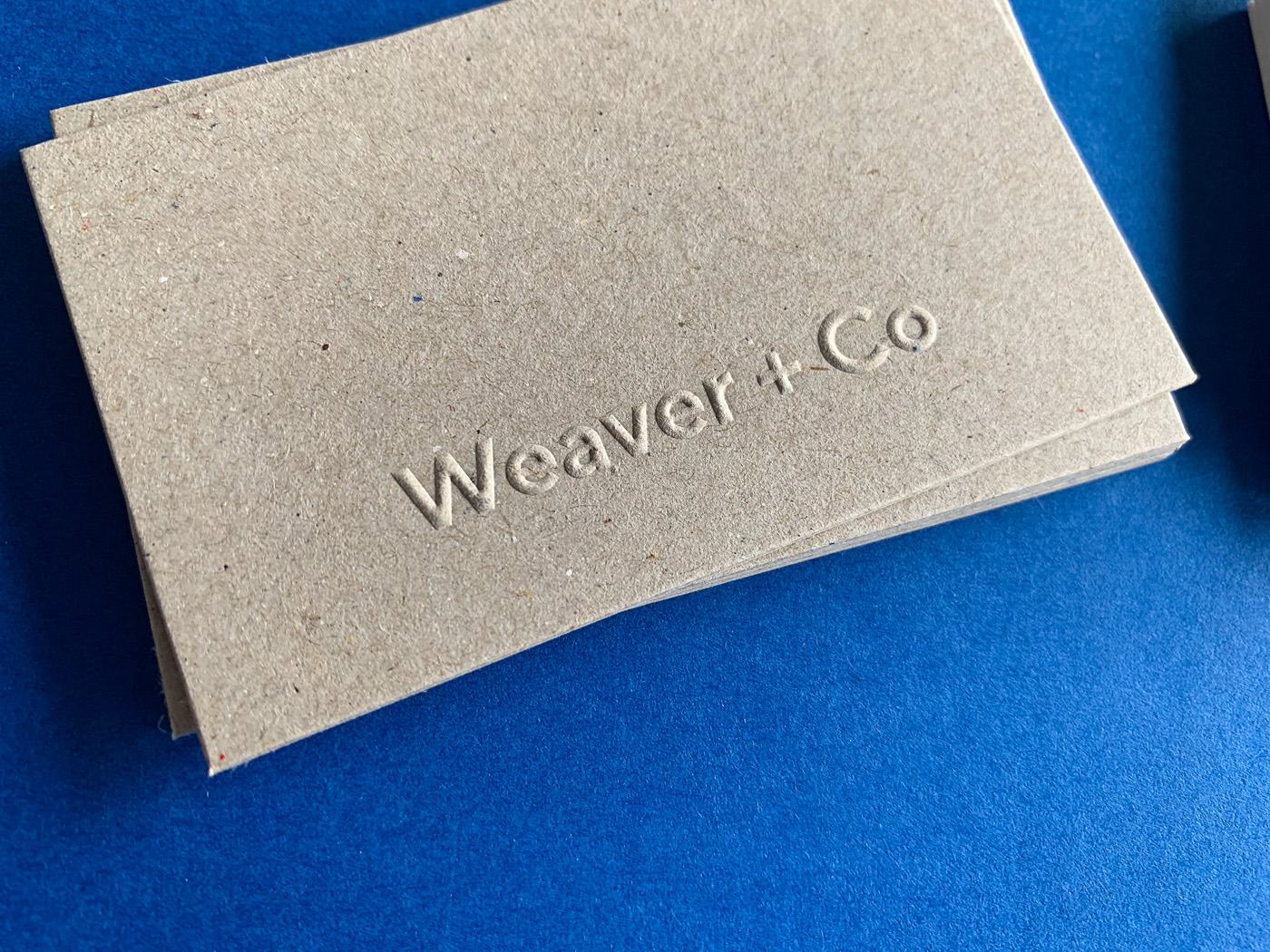Letter pressed business cards for Martyn Weaver Co on Boxboard