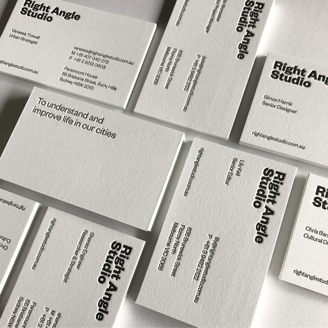 Letter Pressed Business Cards & With Compliments Slips for Right Angle Studio on Savoy 3