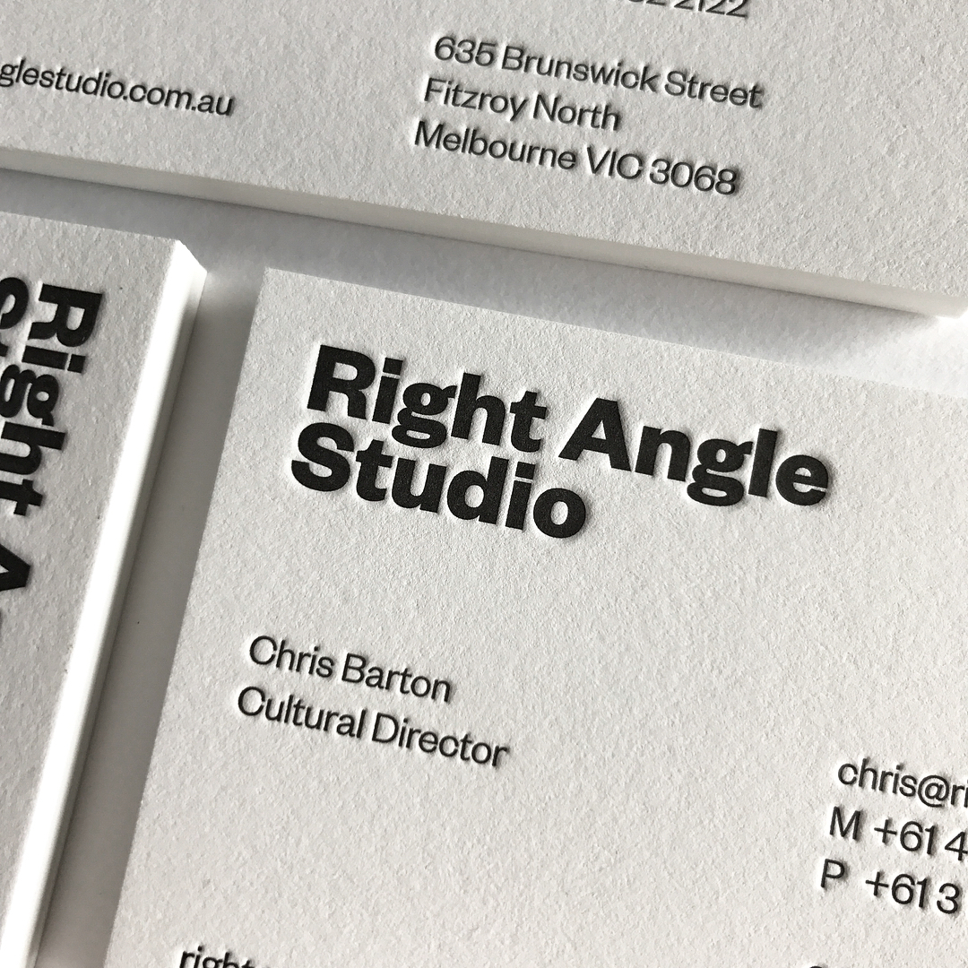 Letter Pressed Business Cards & With Compliments Slips for Right Angle Studio on Savoy 4
