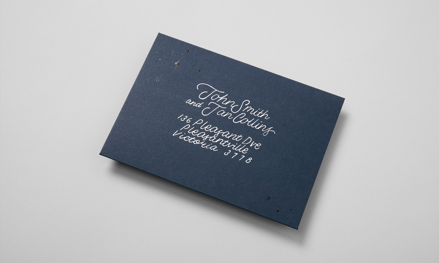 Letterpress Aerograms in silver metallic ink with calligraphy for Kate Pullen on Colorplan Imperial Blue
