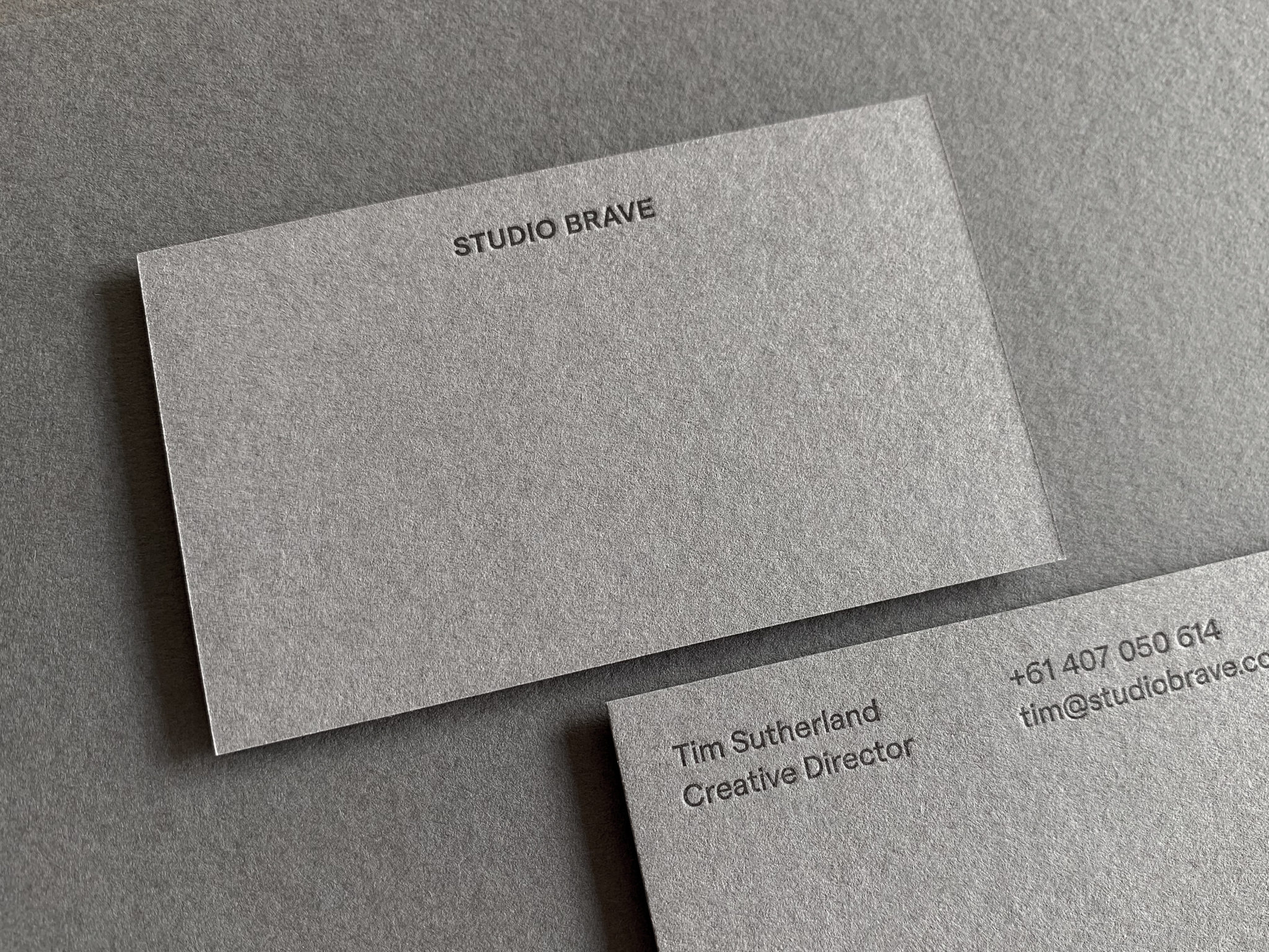 Letterpress Business Card for Studio Brave on Colorplan Smoke 1