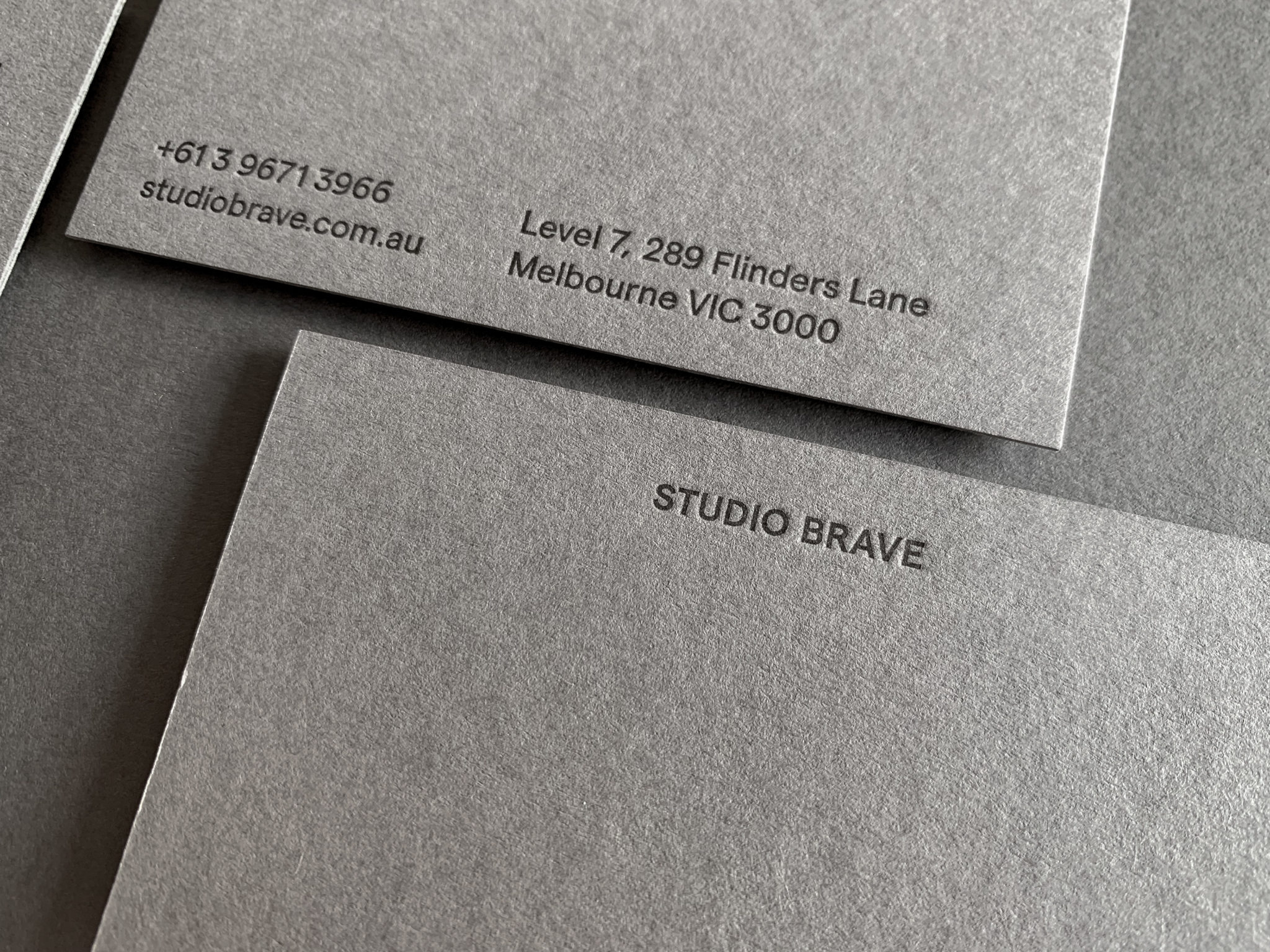 Letterpress Business Card for Studio Brave on Colorplan Smoke 2