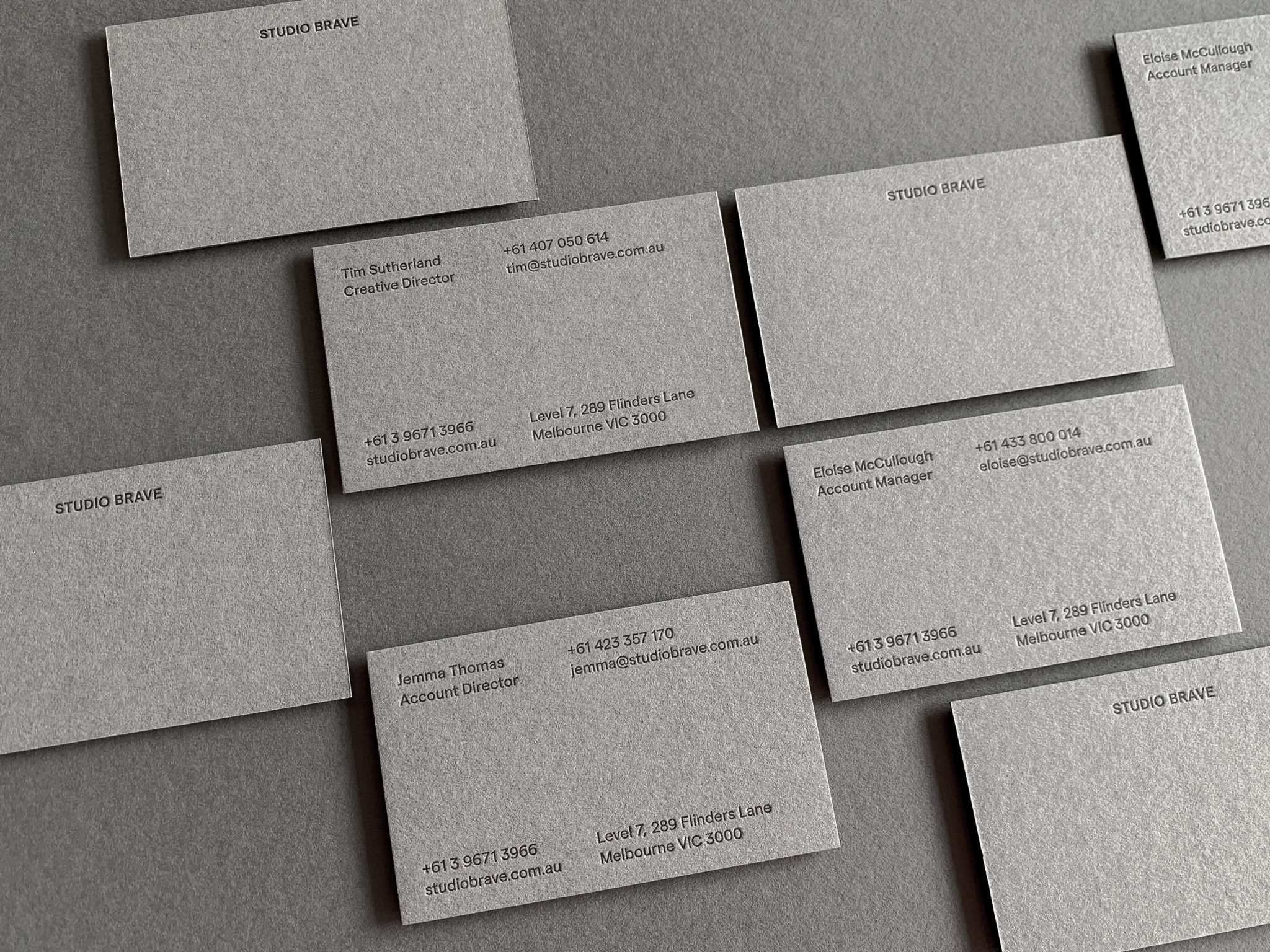 Letterpress Business Card for Studio Brave on Colorplan Smoke 4