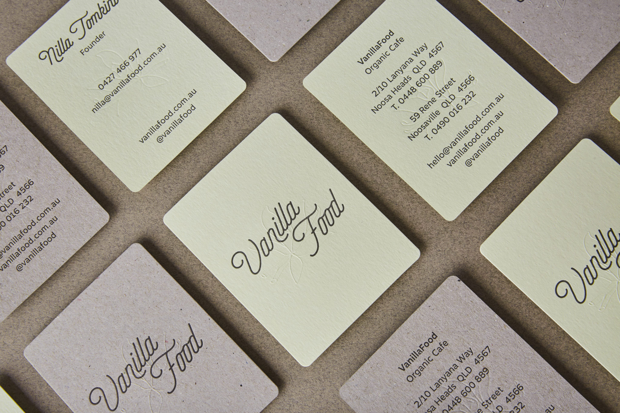 Letterpress Business Card for Vanilla Food on Colorplan Pistachio and Boxboard 1