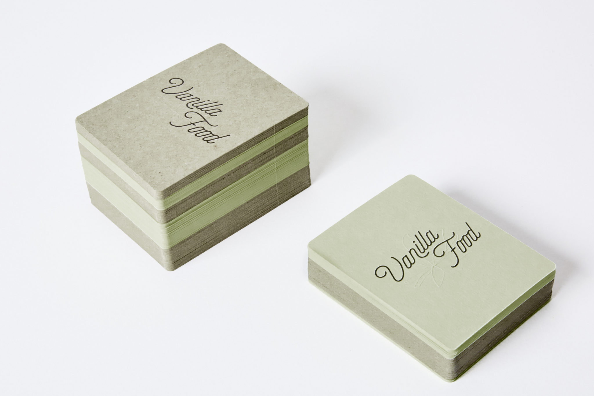 Letterpress Business Card for Vanilla Food on Colorplan Pistachio and Boxboard 2