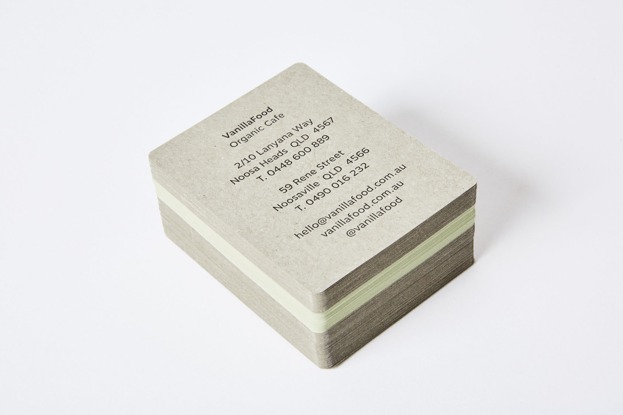 Letterpress Business Card for Vanilla Food on Colorplan Pistachio and Boxboard 3